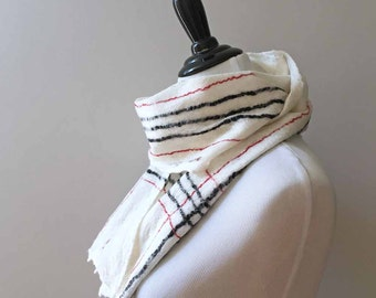 Wet Felted Scarf - Cream, Red and Black / Merino / Gossamer Felted Scarf / Plaid / For Men / For Women / Handmade Scarf - READY TO SHIP