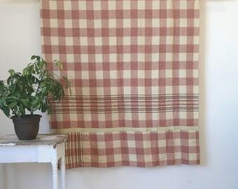 Vintage 50's Pink & Cream Wool Camp-style Plaid Blanket