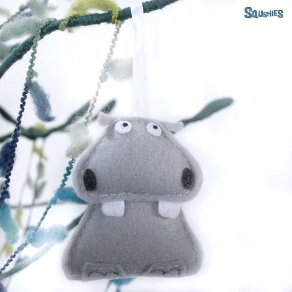 Hippo - Felt Zoo Animal - Christmas Ornament - Beauregard the Hippo - Made to Order