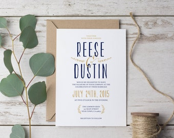 Classic Modern Wedding Invitation Template - PRINTS Rustic, Simpe, Rsvp, Grey, Navy, Blue, Gold, Yellow, spring DIY (1086)