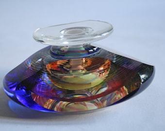 1990's Art Glass Perfume Bottle Signed Kit Karbler