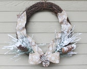 Medium Winter Wreath, Rustic Grapevine, Beige Snowflake Ribbon, Snow Covered Greens and Pinecones