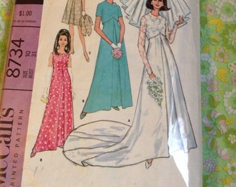 Vintage McCall's 8734 Gown With Train & Jacket Wedding Dress Sewing Pattern 31 Inch Bust 1960s