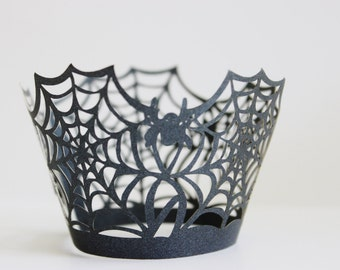 Halloween Cupcake Wrappers Spiderweb Spooky Laser Cut 12+ Pieces / Halloween Party /