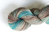 Gradient Silk Yarn, 480 yards, Recycled Yarn, Silk Thread, Brown Beige, Teal, Hand Dyed, Lot #23
