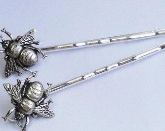Bees Silver Bumble bees hairpins brides bridesmaids flower wedding Hair