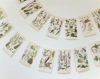 Botanical Bunting, Green Bunting. Spring Bunting, Nature Garland, Wedding Decorations. Rustic Wedding backdrop, Garden Bunting