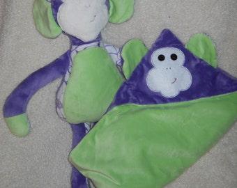 Purple and Lime green Mindle the Monkey and Hug me Blanket set
