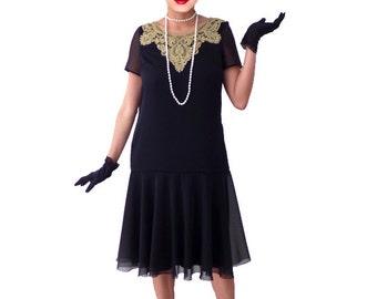 Black flapper dress chiffon gold lace robe charleston cocktail short sleeve elegant vintage style Great Gatsby Roaring 20s 1920s : YVETTE