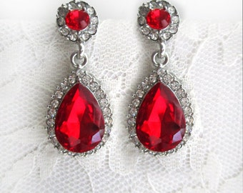 Hollywood Red Ruby Earrings Silver Dangle Earrings Wedding Jewelry Bridesmaid Gift Bridal Jewelry Pear Round CZ Zirconia Drop Crystal