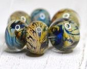 raku, cobalt, encased glass set of lampwork beads, SRA handmade in earthy colors 20616-11
