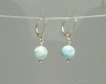 Aquamarine Earrings -  Natural Blue Round Bead Earrings 9 mm Aquamarine Beads in Recycled Silver Leverback Earrings