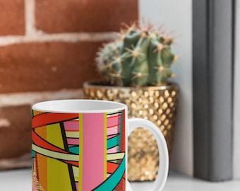 Ceramic Mug Bold Geometric Print Cofee Tea Cup