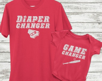 Dad and Baby matching, Baseball gift, Daddy and me shirts, Game changer and diaper changer, funny baby gift, Manly baby gift, baseball baby