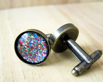 New Years Confetti Cuff Links