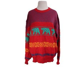 Vintage Polar Bear Sweater Red Size Large