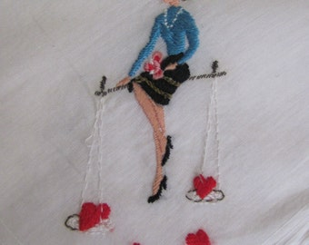 Lovely White Embroidered Hankie Handkerchief