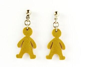 Wooden doll earrings, OOAK lightweigh earrings, long earrings, dangle earrings, wood doll, woman earrings, choose color, wooden jewelry