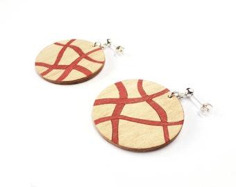 Silver earrings, wood earrings, ecofriendly earrings, geometric earrings, artisan earrings, modern earrings, earrings wood,handmade earrings