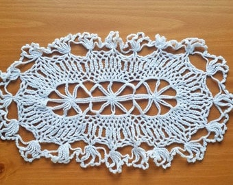 Vintage White Crocheted Doily, 14 x 8.5 inches, Crochet Placemat, Table Doily