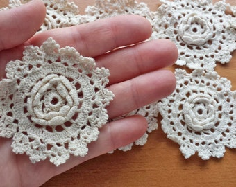 Crochet Flower Lace Appliques, Vintage Crochet Doily Medallion Pieces, Crocheted Flowers