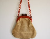 Vintage 1960's Suedette Purse with Amber Lucite Strap.