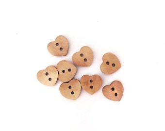 8 Heart Buttons, Wood, Wooden, Kids Buttons, Natural