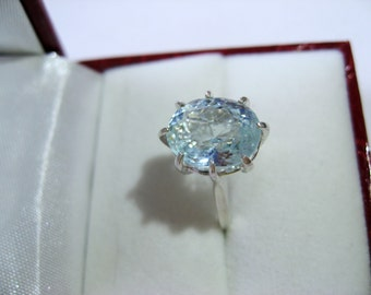 Seafoam Blue Natural Aquamarine In Sterling Silver Ring, 4.52 ct. Size 5.75, 6.75, 7
