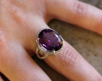 14K white gold Diamond and Amethyst ring.