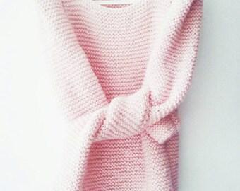 Pale pink long sleeved sharp shoulder hand knit womens sweater light pink blush  summer fashion for her modern minimalist gift