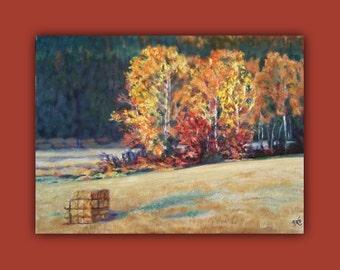 Oil Painting, AUTUMNS' WHEAT FIELD, OriginalOil Farm, #Painting, wheat field #hay, bales, wheat, trees #landscape #field, EtsyGift #Signed