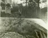 "Vintage Photo ""Bobby and Bicycle"" Snapshot Photo Old Antique Photo Black & White Photograph Found Paper Ephemera Vernacular - 152"