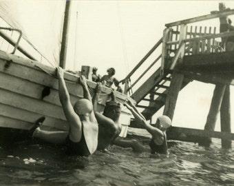 "Vintage Photo ""Rock the Boat"" Swimsuit Beach Snapshot Photo Old Antique Photo Black & White Photograph Found Paper Ephemera Vernacular - 16"