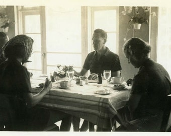 "Vintage Photo ""Wednesday Brunch"" Dining Room Table Snapshot Old Antique Photo Black & White Photograph Found Paper Ephemera Vernacular - 207"