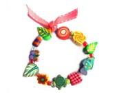 "Spring GIRLS Stretch BRACELET 6"", Flower girl Bracelet, light pink ribbon, Easter multicolored polymer clay beads, artisan made kids jewelry"