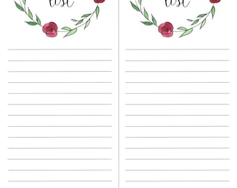 Printable Shopping List - Floral Wreath Shopping List - Hand Painted