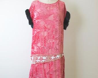 Reduced...1920s Pink Silk Cut Velvet Beaded Flapper Dress with Fur Trim