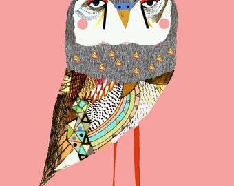 Prettiest Owl. Girl nursery decor wall art print.