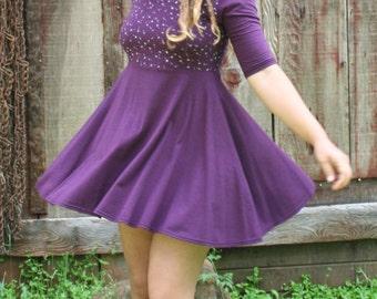 Dandelion Screen Printed Skater Circle Skirt Dress Soy Organic Cotton Spandex Purple USA Made New