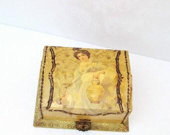 Antique Dresser Box, Victorian Celluloid Box, Presentation Box, Art Nouveau Vanity Box, Asian Inspired Art