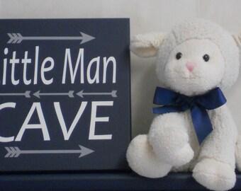 Little Man Cave - Arrow Nursery - Art with Arrows - Woodland Tribal Nursery - Baby Boys Nursery Sign - Navy and Gray Wall Art