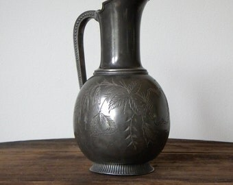 Vintage Water Pitcher 2307 James W Tufts Silver Plated Etched Floral Motif Home Decor