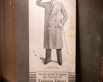 Vintage Men's Clothing Store Advertising Window Card - Ferris Woolen Company