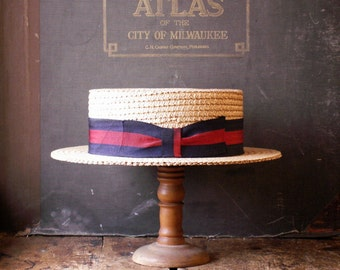 Vintage Men's Straw Boater Hat with Red and Blue Grosgrain Ribbon - size 7 5/8 -  Great Guy Gift!
