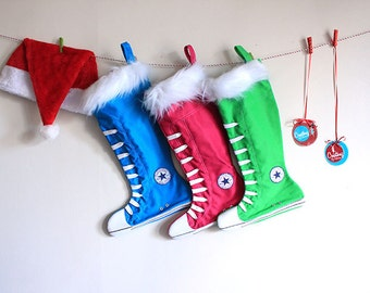 Christmas Stockings set of 3:  Family Christmas Stockings, Green, Blue, Hot pink
