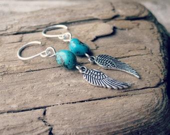Silver Wing Earrings // Turquoise Earrings, Dangle Earrings, Turquoise and Silver Earrings, Feather Earrings, Silver Earrings