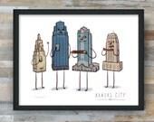 Kansas City Skyline Art Print- KC BBQ