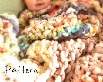 Knitting Pattern Bulky Baby Blanket Wrap Lap Blanket