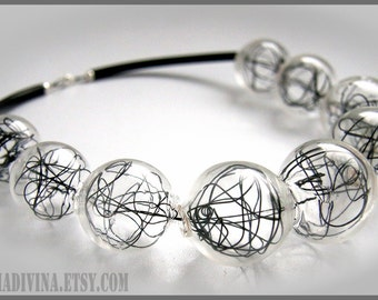 Blown glass Black wire Rubber necklace -Glass bubbles - Spheres - statement necklace - Geometric - Abstract - Modern -  Murano glass