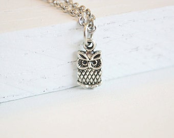 Tiny Owl Necklace, Tiny Owl Charm, Baby Owl, Wise Owl Necklace, Woodland Jewelry, Bird Necklace, Gift For A Girl, BFF Gift, Friendship Gift